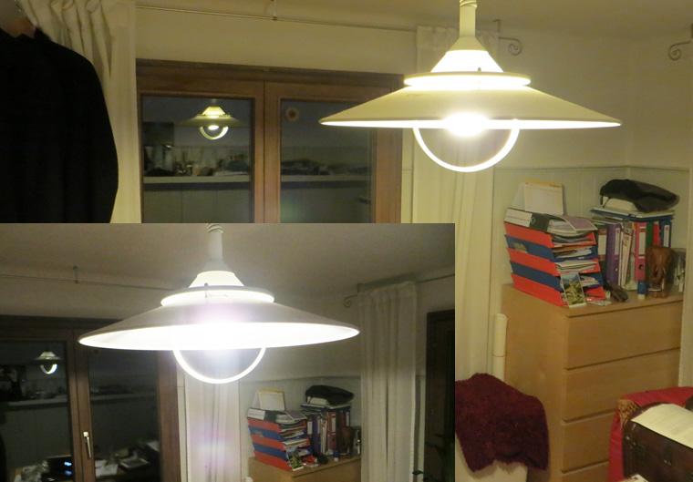 Lichtvergleich (oben rechts Standard, links unten LED)
