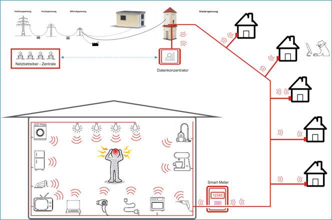 Schema der EMF Bestrahlung durch PLC Powerline